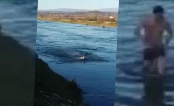 I ovo je BiH: Hrabro zaplivao u lednoj rijeci dok su ga bodrili prijatelji